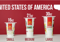 【面白動画】世界のマクドナルドのドリンクカップサイズを比べてみた!