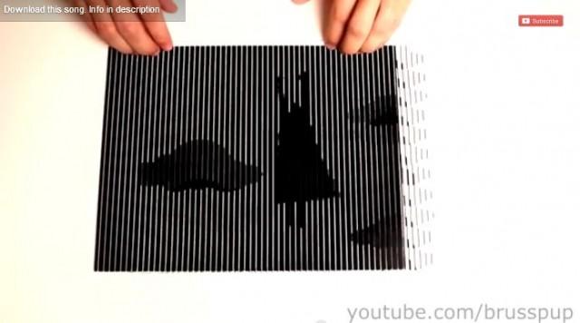 【トリックアート】不思議な模様にシートをスライドさせると動画が現れる!