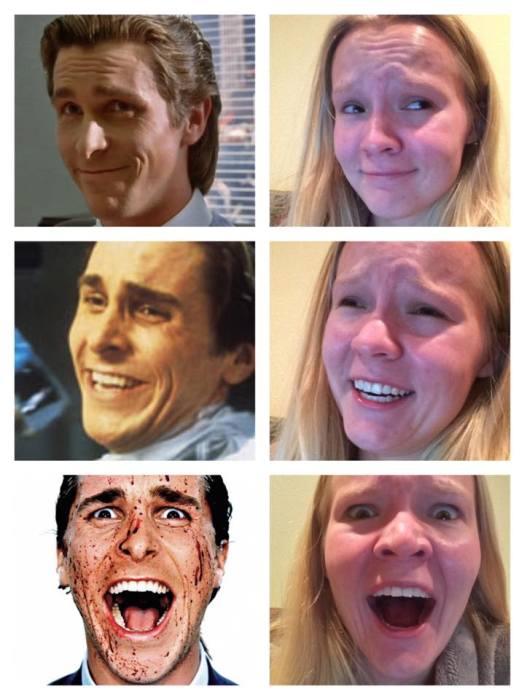 【面白画像】有名人の表情を真似ただけ女性の写真が面白い!