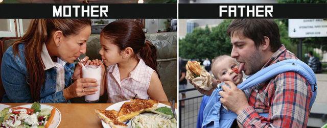【面白画像】母親と父親の子育て方法の違い