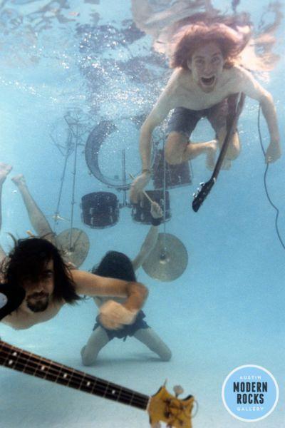ニルバーナ「ネバーマインド」のジャケ写。実はメンバーも水中撮影に挑んでいた。